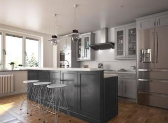 Society Shaker Steel Gray Kitchen Cabinets