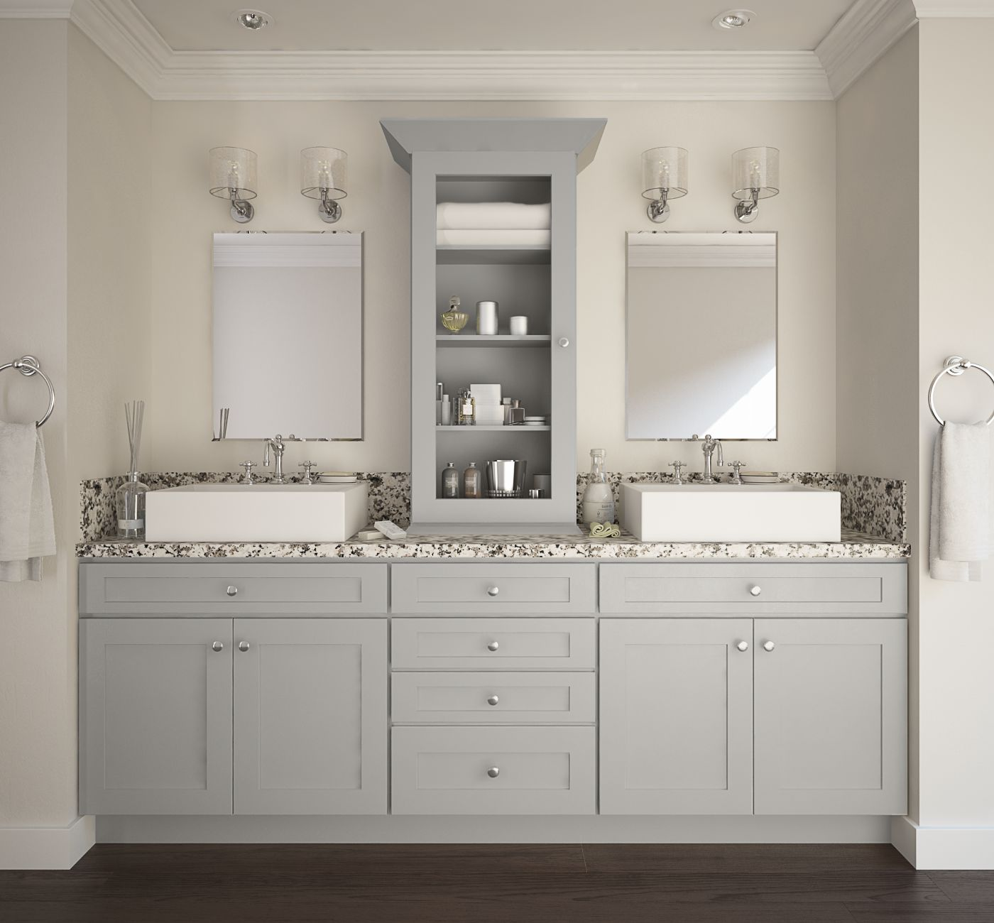 Society shaker dove gray bathroom vanities vanities for Bathroom cabinet designs photos