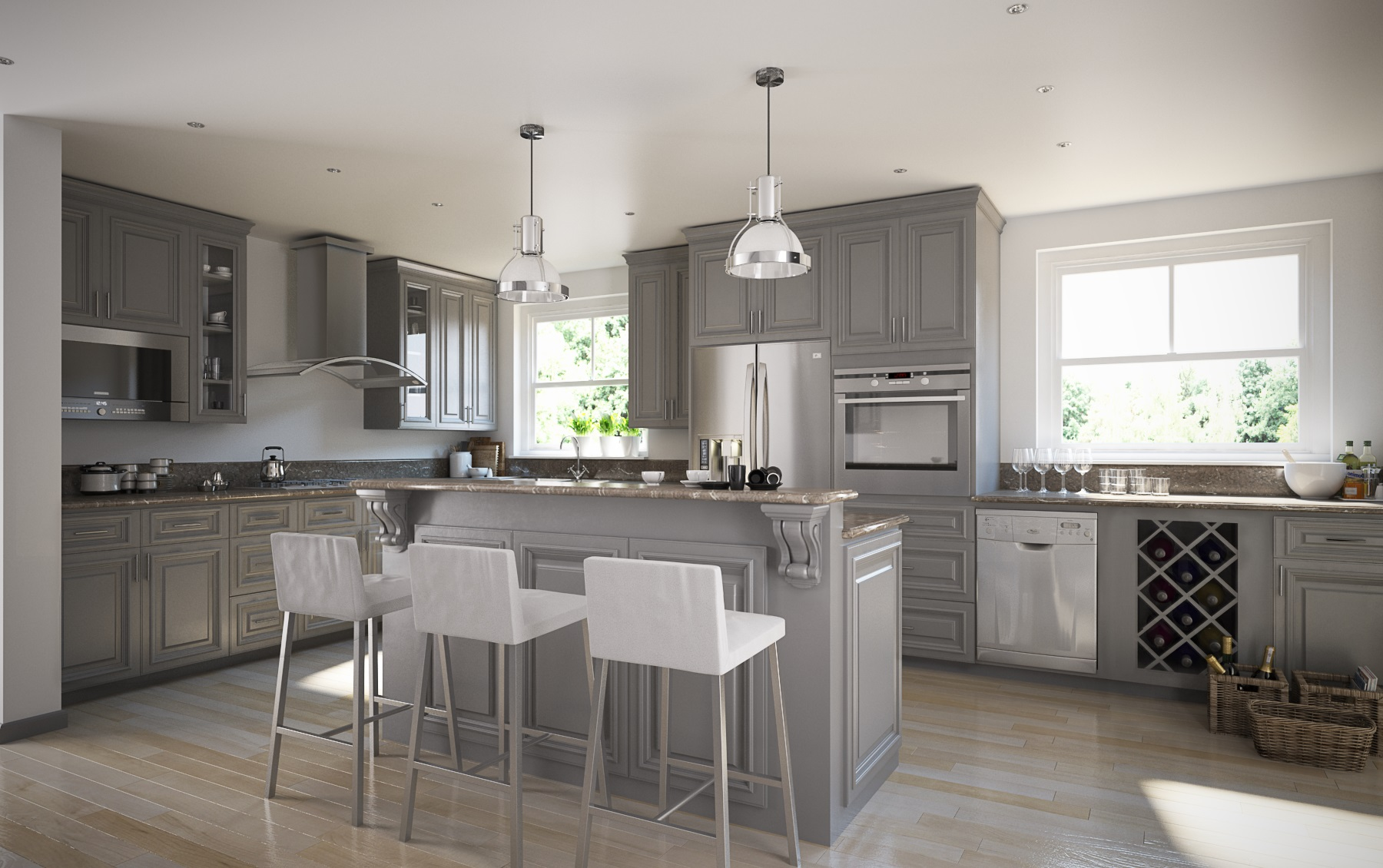 Roosevelt Steel Grey Kitchen Cabinets - Willow Lane Cabinetry