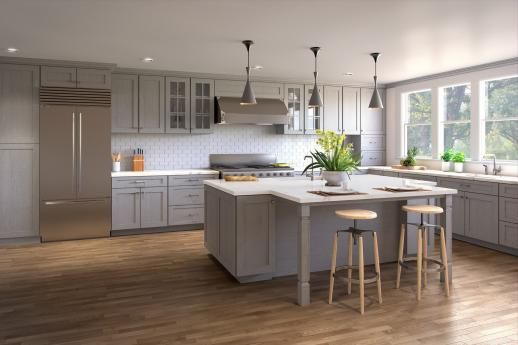 Heather Grey Shaker Pre Assembled Kitchen Cabinets Willow Lane Cabinetry