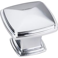 "Jeffrey Alexander By Hardware Resource - Milan 1 Collection Knobs - 1.188"" Overall Length in Polished Chrome"