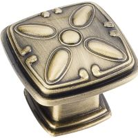 "Jeffrey Alexander By Hardware Resource - Milan 2 Collection Knobs - 1.188"" Overall Length in Brushed Antique Brass"