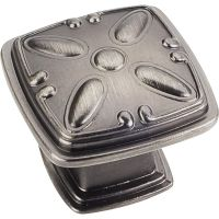 """Jeffrey Alexander By Hardware Resource - Milan 2 Collection Knobs - 1.188"""" Overall Length in Brushed Pewter"""