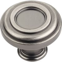 "Jeffrey Alexander By Hardware Resource - Lafayette Collection Knobs - 1.375"" Diameter in Brushed Pewter"