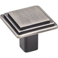 "Elements By Hardware Resource - Calloway Collection Knobs - 1.25"" Overall Length in Brushed Pewter"