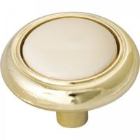 "Elements by Hardware Resources - Sanibel Collection Cabinet Knob - 1.25"" Diameter in Polished Brass with Almond"