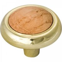 "Elements by Hardware Resources - Sanibel Collection Cabinet Knob - 1.25"" Diameter in Polished Brass with Oak"