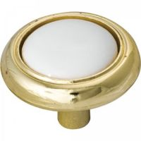 "Elements by Hardware Resources - Sanibel Collection Cabinet Knob - 1.25"" Diameter in Polished Brass with White"