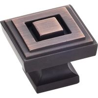 "Jeffrey Alexander By Hardware Resource - Delmar Collection Knobs - 1.25"" Overall Length in Brushed Oil Rubbed Bronze"