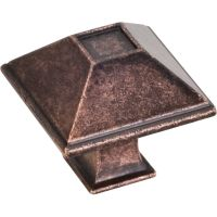 "Jeffrey Alexander By Hardware Resource - Tahoe Collection Knobs - 1.25"" Overall Length in Distressed Oil Rubbed Bronze"