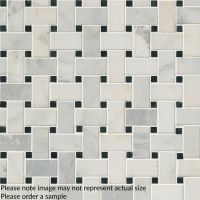 Arabescato Carrara With Black Marble Basket Weave Pattern Honed In A Mesh Sample