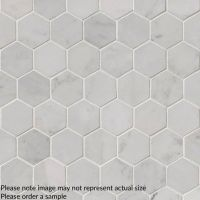 "Carrara White 2"" Hexagon Polished Pattern Tile"
