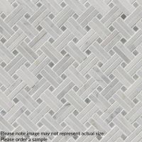 Carrara White Basketweave Pattern Polished Marble