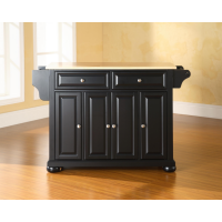 Alexandria Natural Wood Top Kitchen Island in Black Finish