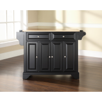 LaFayette Natural Wood Top Kitchen Island in Black Finish