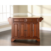 LaFayette Natural Wood Top Kitchen Island in Classic Cherry Finish