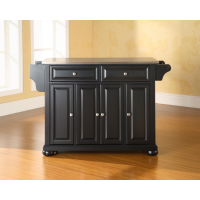 Alexandria Stainless Steel Top Kitchen Island in Black Finish