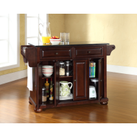Alexandria Solid Black Granite Top Kitchen Island in Vintage Mahogany Finish