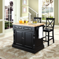 "Butcher Block Top Kitchen Island in Black Finish with 24"" Black X-Back  Stools"