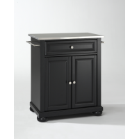 Alexandria Stainless Steel Top Portable Kitchen Island in Black Finish