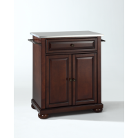Alexandria Stainless Steel Top Portable Kitchen Island in Vintage Mahogany Finish