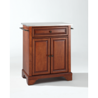 LaFayette Stainless Steel Top Portable Kitchen Island in Classic Cherry Finish