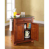 Alexandria Solid Black Granite Top Portable Kitchen Island in Classic Cherry Finish