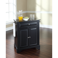 LaFayette Solid Black Granite Top Portable Kitchen Island in Black Finish