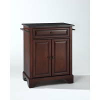LaFayette Solid Black Granite Top Portable Kitchen Island in Vintage Mahogany Finish