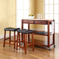 "Natural Wood Top Kitchen Cart/Island in Classic Cherry Finish With 24"" Cherry Upholstered Saddle Stools"