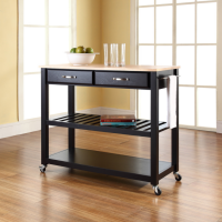 Natural Wood Top Kitchen Cart/Island With Optional Stool Storage in Black Finish