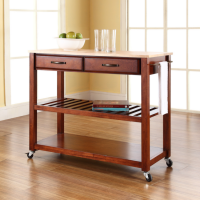 Natural Wood Top Kitchen Cart/Island With Optional Stool Storage in Classic Cherry Finish