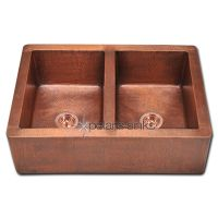 Double Equal Bowl Copper Apron sink