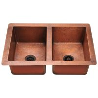 "Equal Double Bowl Copper Sink - Fits 33"" Minimum Cabinet Size"