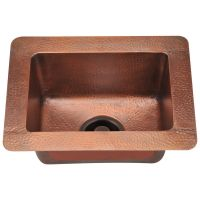 "Small Single Bowl Copper Sink - Fits 18"" Minimum Cabinet Size"
