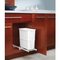 """Single Pullout Waste Container - Fits a 12"""" Wide Base Cabinet or One Side of Sink Base (Rev-A-Shelf)"""