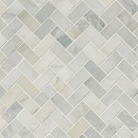 Arabescato Carrara Herringbone Pattern Honed In A Mesh Sample