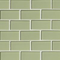 "Mint Green Glass 2"" x 4"" Subway Tile"