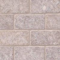 "Silver Travertine Tumbled 3"" x 6"" Subway Tile"